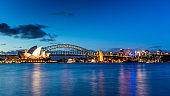 Sydney Opera House Skyline Panorama at Night Australia