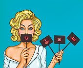 Pop art blond girl covering her mouth with black sign on stick with red lips.