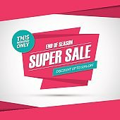 Super Sale. Only this weekend special offer banner, discount 50% off. End of season.