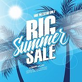 Big Summer Sale. This weekend special offer banner with hand lettering and palm trees for business, promotion and advertising.