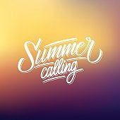 Summer Calling handwritten lettering text design on blurred background.