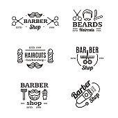 Barber Shop Emblems Set. Vector