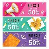 Big Sale Banner Card Horizontal Set. Vector