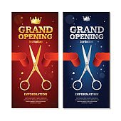 Grand Opening Banners Invitation Set. Vector