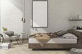 3d rendering vintage minimal mock up bedroom in scandinavian style