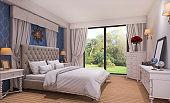 3d rendering beautiful classic bedroom near green field