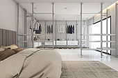 3d rendering modern bedoom with walk in closet and wardrobe