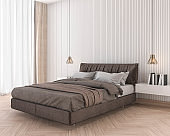 3d rendering soft and comfortable brown bed in minimal bedroom