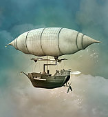 Fantasy steampunk hot air balloon