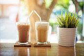 ice coffee  on wood background