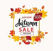 Banner for autumn sale in frame from leaves.