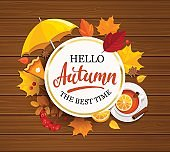 Hello Autumn lettering in gold frame.