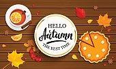 Hello autumn banner in gold frame.