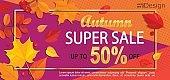 Bright geometric golden autumn super sale banner.