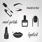Make up, beauty, cosmetics icon set.