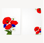 Template card with chamomile, cornflowers and red flowers poppies