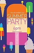 Summer Party Poster with Popsicles and Ice cream