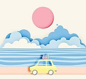 Road trip on the beach with paper art styl