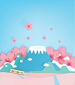 Colorful mountain paper cut style background