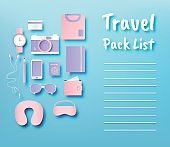 Travel items packing list paper art style