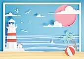 Beautiful beach paper art style with frame