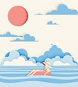 Girl floating on the beach with beautiful sea background paper cut style