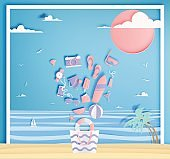 Beach things paper art style with ocean background vector illustration