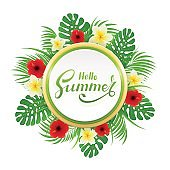 Card with lettering Hello Summer and palm leaves