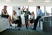 Business team enjoying success at office