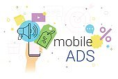 Mobile ads and marketing on smartphone creative concept vector illustration