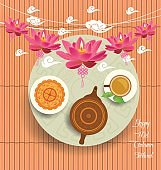 Chinese moon cake and green tea for Mid autumn festival. Tea pot, tea cup