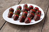 fresh strawberries dipped in chocolate