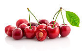 cherry and slices cherry isolated