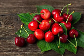 Cherries. Juice summer fruits with leaves