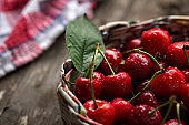 Cherries in basket with water drops