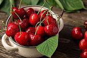 red cherries, cherries on table, bowl with cherries, freshly picked cherries