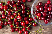 Fresh cherry in bowl on wooden table