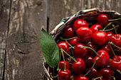 Sour cherries in basket