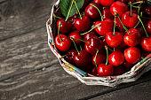 Ripe cherries in basket