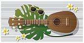 Hello summer background with ukulele on woodden board , vector , illustration