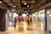 Abstract blurred bokeh of people shopping in department store or shopping mall, business concept.