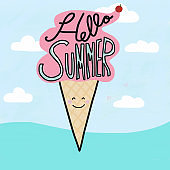 Hello Summer word on ice cream watercolor painting