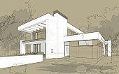 3D render sketch of modern cozy house