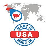Made in USA, America stamp. World map with red country. Vector emblem in flat style on white background.