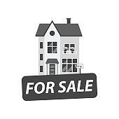 For sale sign with house. Vector illustration in flat style.
