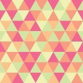 Abstract geometric triangle seamless pattern, green and pink colors