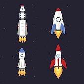 Vector technology ship rocket cartoon design