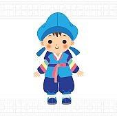 Cute little boy in Korean traditional costume