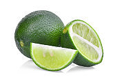 resh green lime with half and slice isolated on white background