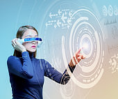 woman wearing smart glasses and futuristic graphical user interface